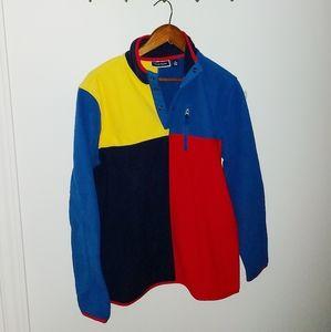 Retro style half zip fleece sweater